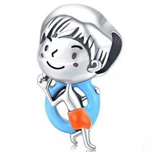 S925 Silver Swimming Boy Charm